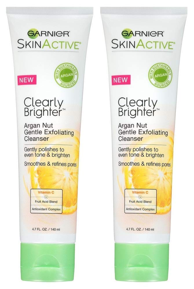 Garnier SkinActive Clearly Brighter Argan Nut Gentle Exfoliating Cleanser, 4.7 fl oz (Pack of 2) by Garnier