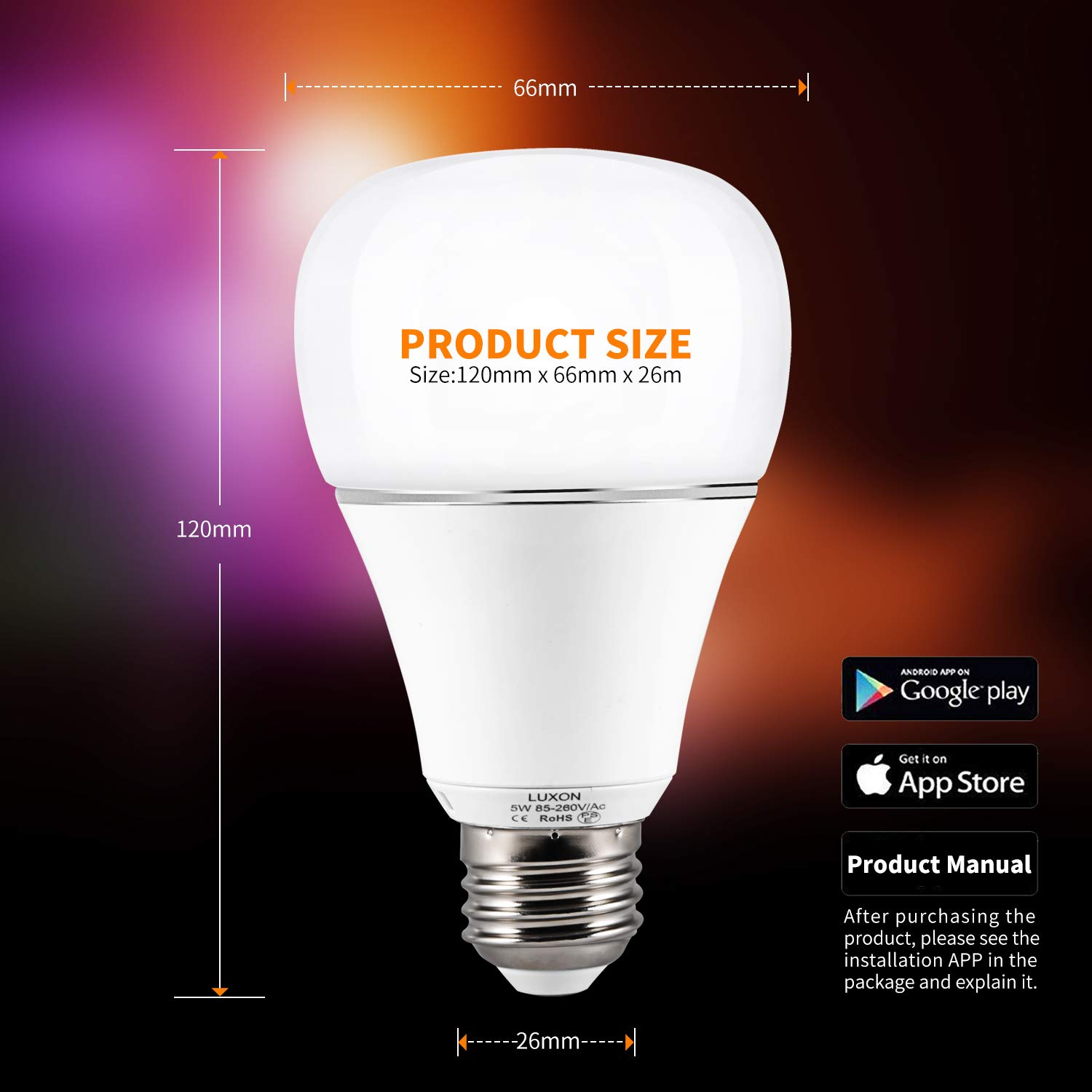 Smart WI-FI LED Light Bulb RGBW Color Changing E26 Base Smart Dimmable Light Bulb Smartphone Controlled Work with Amazon Alexa/ Google Home by LUXON by LUXON (Image #7)