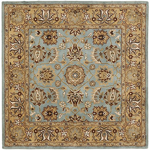 Safavieh Heritage Collection HG958A Handcrafted Traditional Oriental Blue and Gold Wool Square Area Rug (10' - Gold Square Area 10' Rug