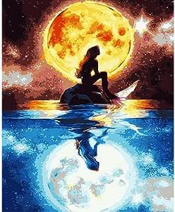 VFDGB Pintura por Números DIY Sirena Bajo La Luz De La