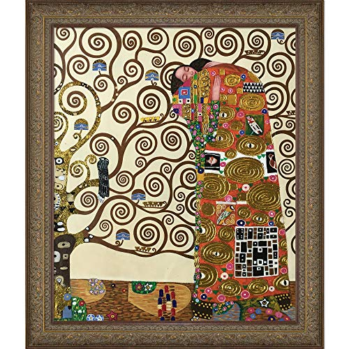 La Pastiche The Embrace Metallic Embellished Artwork By Gustav Klimt With Gold Mother Of Pearl - Pearl Mother Of Monet