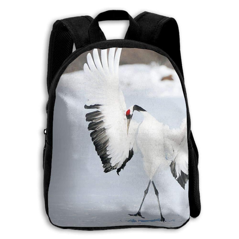 YEWEI Crane Bird 男女兼用 3Dプリント ワイドジッパー 学校 旅行バッグ ショルダーバッグ 子供用バックパック   B07G9SBPVL