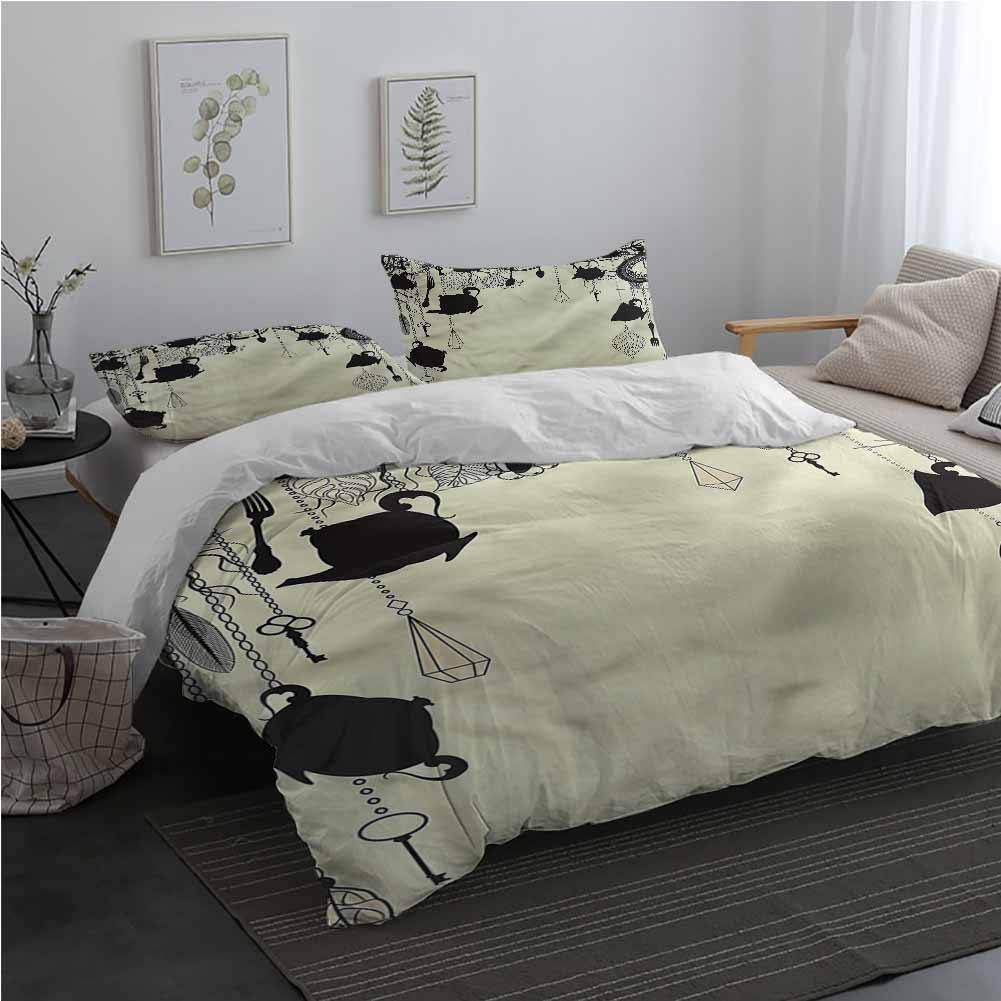 Antique Duvet Cover Set with Invisible Zipper Closure Diamonds Forks Spoons 100% Cotton Bedding Twin