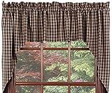 Cheap Window Curtain Swags Cambridge Black Window Treatments Unlined 100% Cotton 72″x36″ IHF Home Decor