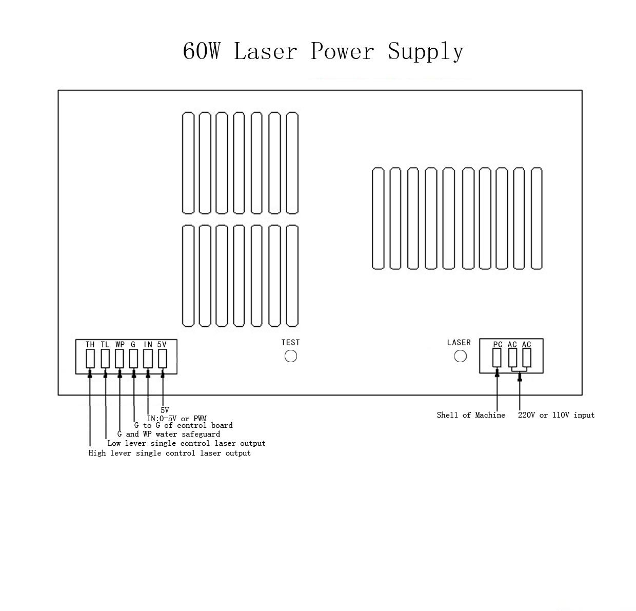 Hq Professional Power Supply For 50w Co2 Laser Tube Wiring Diagram Engraver Cutter 110v Computers Accessories