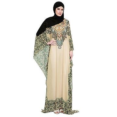 01a43cc1cffad7 Amphia Festkleid Muslim Dubai Muslimisch Islamisch Arabisch Indien Türkisch  Casual Abendkleid Kaftan Kleid Maxikleid (Gelb