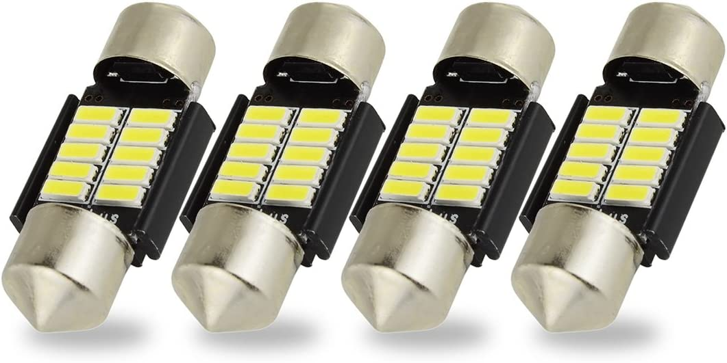 DC 12V 30mm 4 5050 SMD Voiture Interieur Dome feston LED lumiere Blanche 2 Pcs TOOGOO R