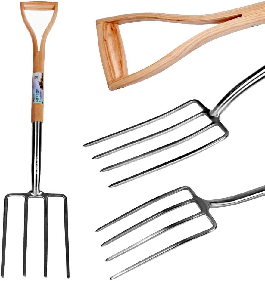 Super Heavy Duty 4-Tine Spading Fork Non-Slip Y-Handle fang zhou Quality Gardening Tools Digging Fork for Dairy Farms or The Ranch Dig Seed Sowing Tool