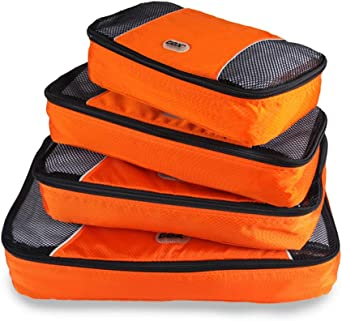 GOX Upgraded 4 Piece Packing Travel Organizer Cubes Set Packing Cubes For Carry On 1 Large 1 Medium 1 Small 1 Slim