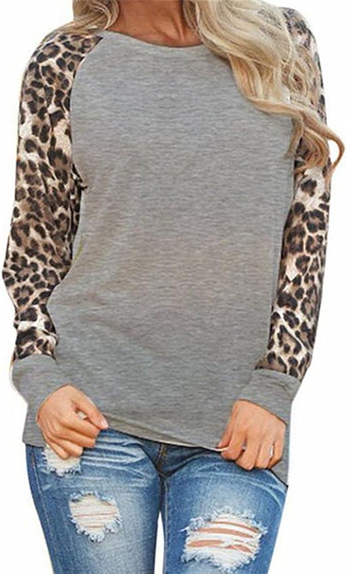 Top Felpa Moda Donna Casual Manica Lunga Patchwork Leopardato O-Collo M,1- Nero