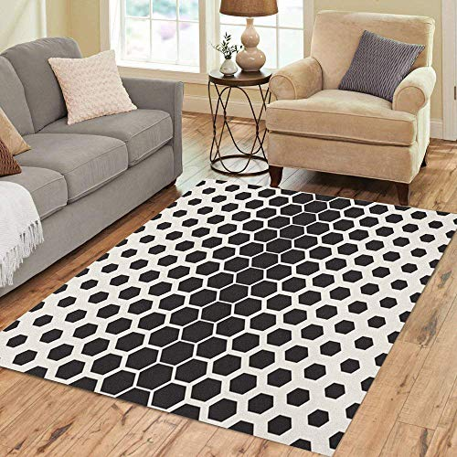Pinbeam Area Rug Pattern Modern Reticulate Geometric Tiles Gradually Thickness Monochromatic Home Decor Floor Rug 2' x 3' Carpet