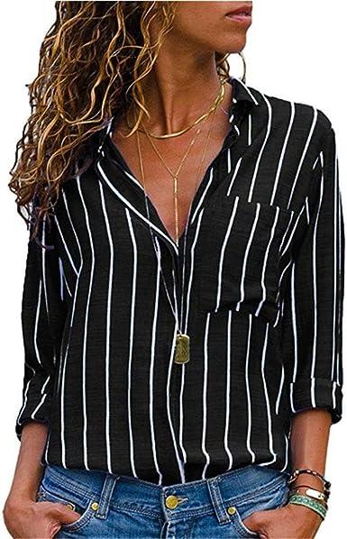 Blusa Camisa a Rayas para Mujer Tops con Cuello en v Suelta Gasa Informal Camiseta de Manga Larga Top túnica Elegante Camisa de Manga Larga: Amazon.es: Ropa y accesorios