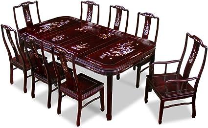 China Mobili Online 203 2 Cm Set Tavolo Da Pranzo Con 8 Sedie In Legno Di Palissandro Con Intarsi In Madreperla Amazon It Casa E Cucina