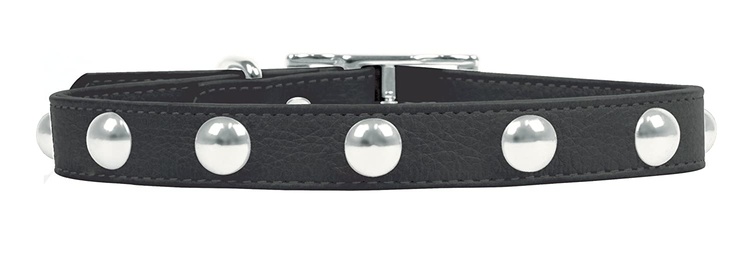 Rockin' doggie Domed Rivets Leather Dog Collar, 1 2 by 10-Inch, Black