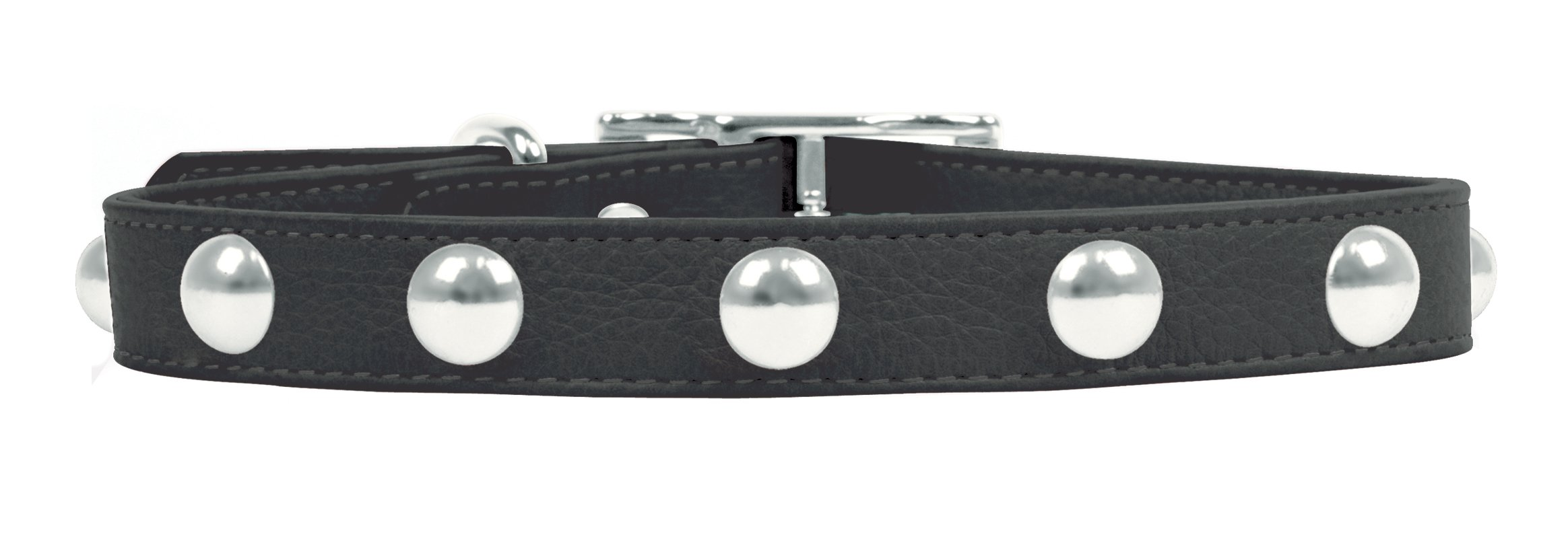 Rockin Doggie Domed Rivets Leather Dog Collar, 1 by 20-Inch, Black