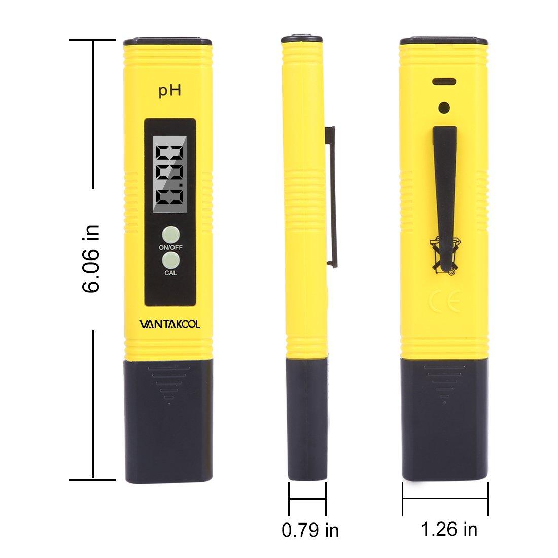 VANTAKOOL Digital PH Meter, 0.01 PH High Accuracy Water Quality Tester with 0-14 PH Measurement Range for Household Drinking, Pool and Aquarium Water PH Tester Design with ATC (yellow) by VantaKool (Image #2)
