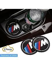 """S-Weka 2PCS M Line Car Interior Accessories Anti Slip Cup Mat for BMW 1 3 5 7 Series F30 F35 320li 316i X1 X 3 X4 X 5 X6 (2.9"""" Dia.(X3/X4/5/7 Series) 3.2""""(81 mm)"""