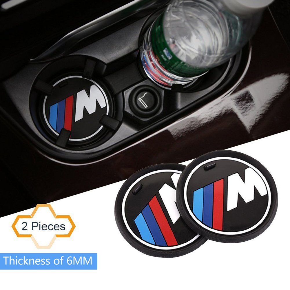 S-Weka 2PCS M Line Car Interior Accessories Anti Slip Cup Mat for BMW 1 3 5 7 Series F30 F35 320li 316i X1 X3 X4 X5 X6 (2.9' Dia.(X3/X4/5/7 Series) (3.2'(81mm))