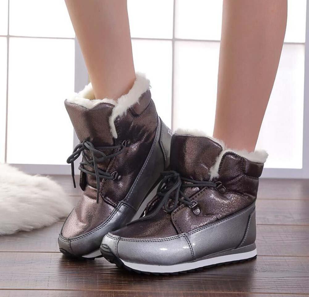 Las mujeres botas de nieve invierno impermeable cálida felpa botas de media pantorrilla 3cm las mujeres botas de algodón grueso inferior no resbaladizo dedo del pie redondo sneakers con cordones Botas al aire libre tamaño Eu 34-41 ( C