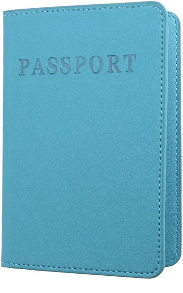 Trenton Faux Leather Passport Holder Cover ID Card Ticket Pouch Case for Women Men Sky Blue