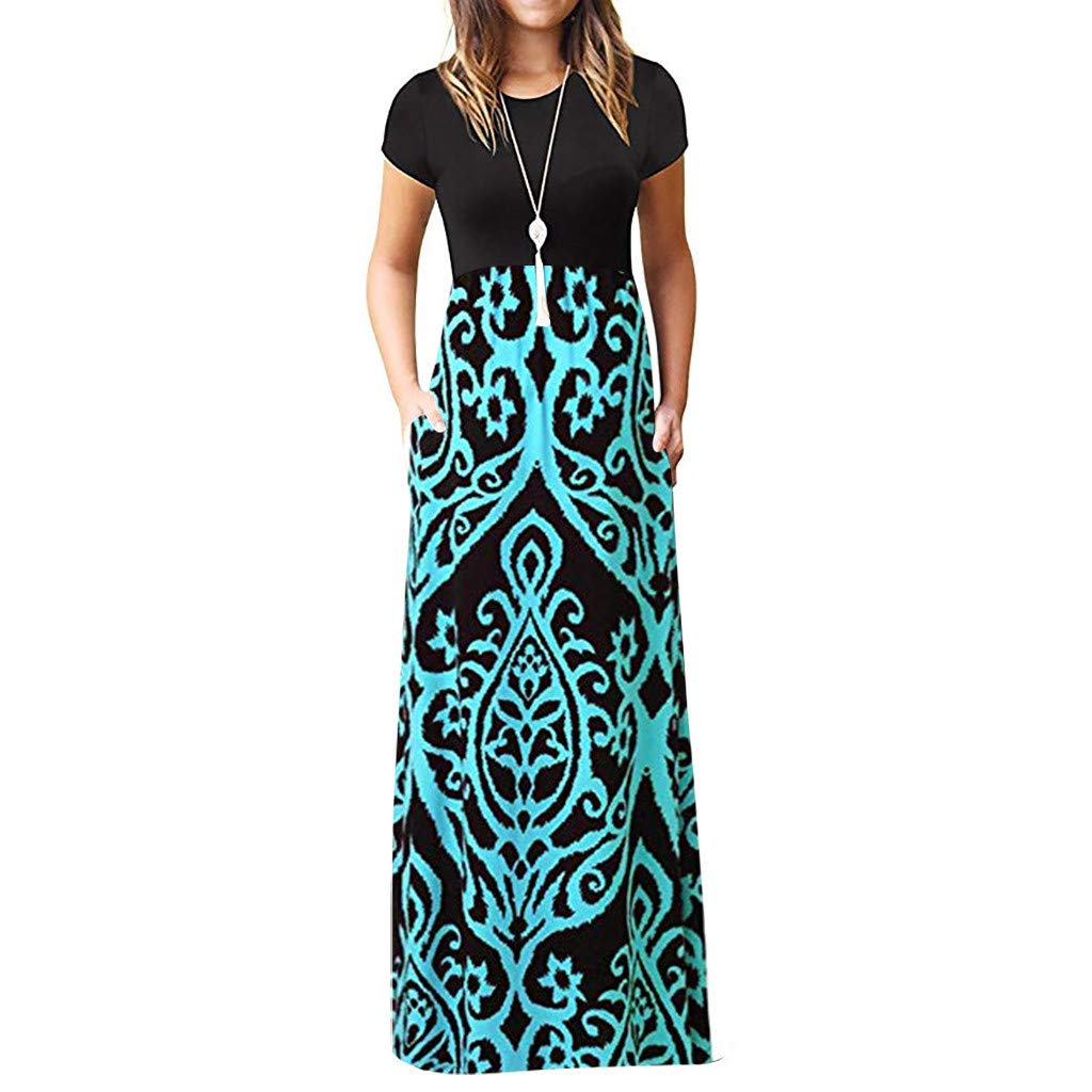chengzhijianzhu Womens Bohemian Casual Pockets Loose Beach Summer Short Sleeve Maxi Sundress Print O-Neck Long Dress Blue