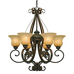"""Golden Lighting 71166LC Chandelier with Creme Brulee Glass Shades, 28.5"""" x 28.5"""" x 33"""", Leather Crackle Finish"""