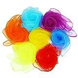 LEFV 20 Pieces Dance Scarves Square Juggling Silk