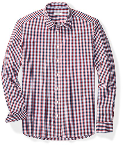 's Big & Tall Classic Fit Long-Sleeve Spread Collar Gingham Button-Up Shirt XX-Large Tall Dark Blue & Red Check (Heritage Plaid Shirt)