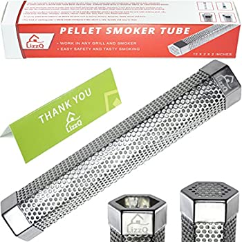 """Premium Pellet Smoker Tube 12"""" - 5 Hours of Billowing Smoke - for any Grill or Smoker, Hot or Cold Smoking - Easy, safety and tasty smoking - Free eBook Grilling Ideas and Recipes - LizzQ"""