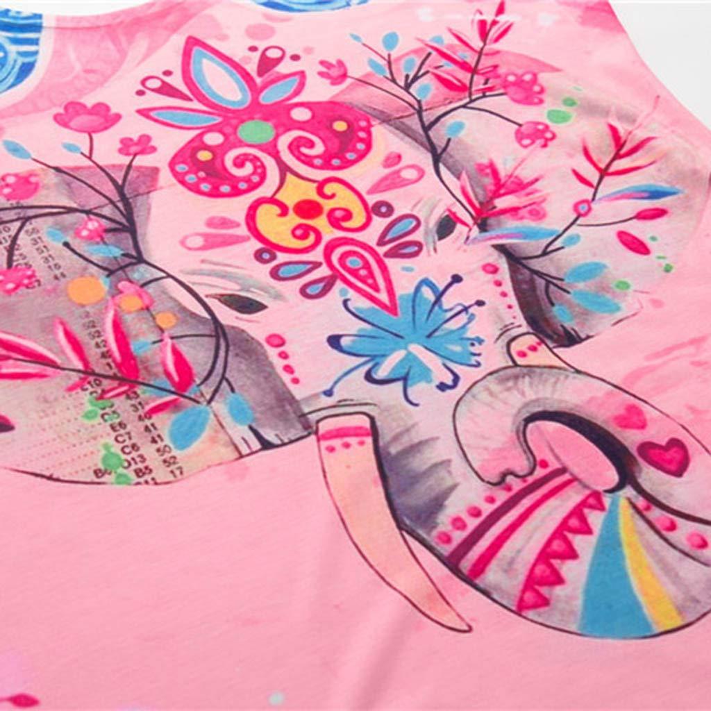Womens Summer Sleeveless Floral Print Sleeveless T Shirt Casual Tank Tops Shirts YANG-YI Clearance