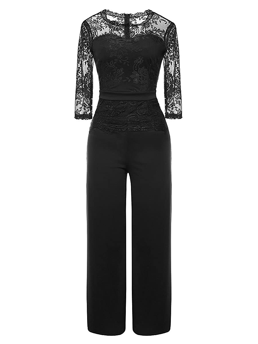 08b317a1b7 Amazon.com  LSAME Women s Elegant Lace Spliced Back Hollow Out Playsuit  Cocktail High Waisted Wide Leg Long Romper Jumpsuit with Belt  Clothing