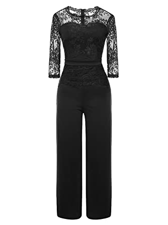 ea7ab9c8f6 LSAME Women s Elegant Lace Spliced Playsuit Cocktail High Waisted Wide Leg Long  Romper Jumpsuit (Black