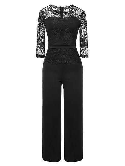 LSAME Women s Elegant Lace Spliced Playsuit Cocktail High Waisted Wide Leg  Long Romper Jumpsuit (Black 41ce3fd465