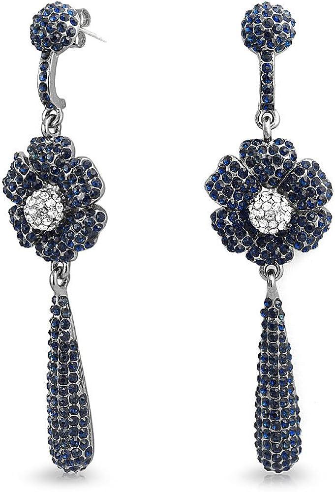 Negro Azul Cristal Flor Boho Grandes Pendiente Candelabro Lagrimas Colgante De Moda Mujer Paraaleación Chapada En Negro