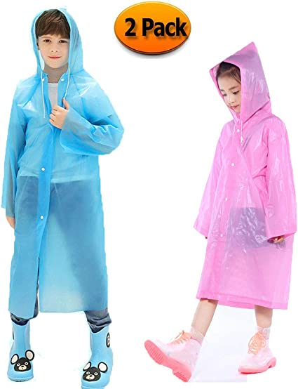 Kids Child Pocket Poncho Rain Coat Waterproof Festival Camping Hiking Hood Cape