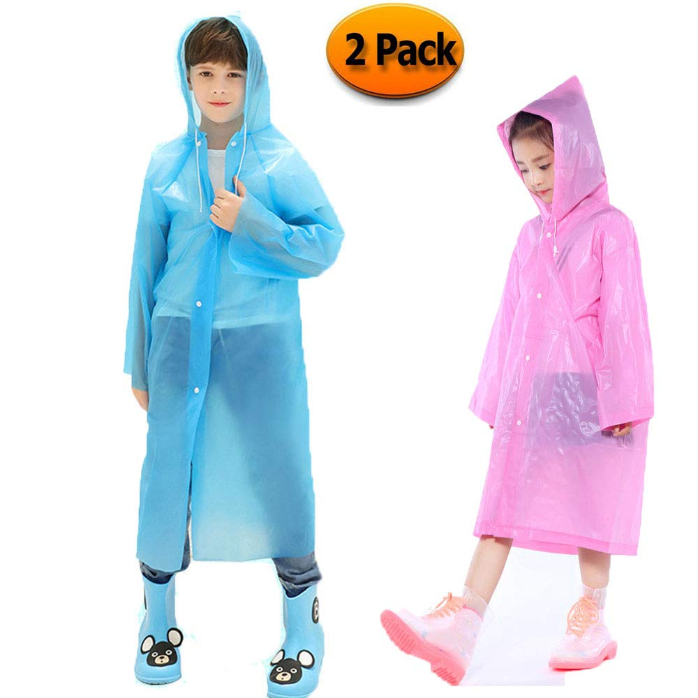 Kids Rain Poncho Raincoats, Lightweight Waterproof Reusable Rain Jacket Coat with Hooded for Girls Boys, Portable Poncho Rainwear for Outdoor/Camping/Hiking/Parks, 2 Pack Blue & Pink Rain Poncho.
