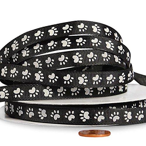 Bone Ribbon Dog - White Paw Print Grosgrain Ribbon, 3/8