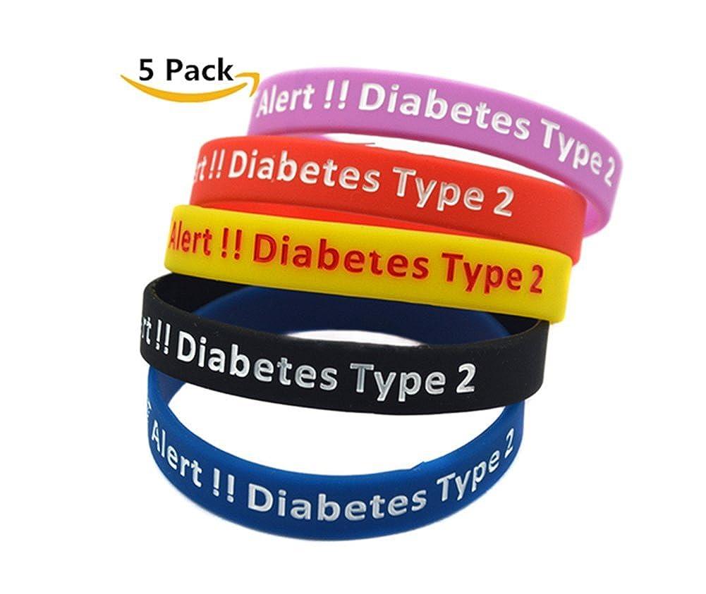 Sunling 5 Pack Survival Medical Alert Diabetes Type 2 ID Silicon Bracelet Diabetic Awareness Wristband Bangle Life Saver Dad,Mom,Grandma,Grandpa SOS Emergency Outdoor Indoor Activities