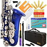 Lazarro 370-BU E-Flat Eb Alto Saxophone Royal Blue-Silver Keys with Case, 11 Reeds, Care Kit and Many Extras