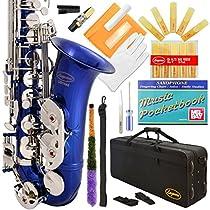 Lazarro 370-BU E-Flat Eb Alto Saxophone Royal Blue-Silver Keys with Case, 11 Reeds, Care Kit and Many Extras