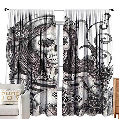 cobeDecor Extra Wide Curtains Skull Sexy Skull Girl with Floral Veil Ceremony Day of The Dead Bride Skeleton Lady Art Grey White Thermal Insulated Block Out Sunlight Shade W120 ()