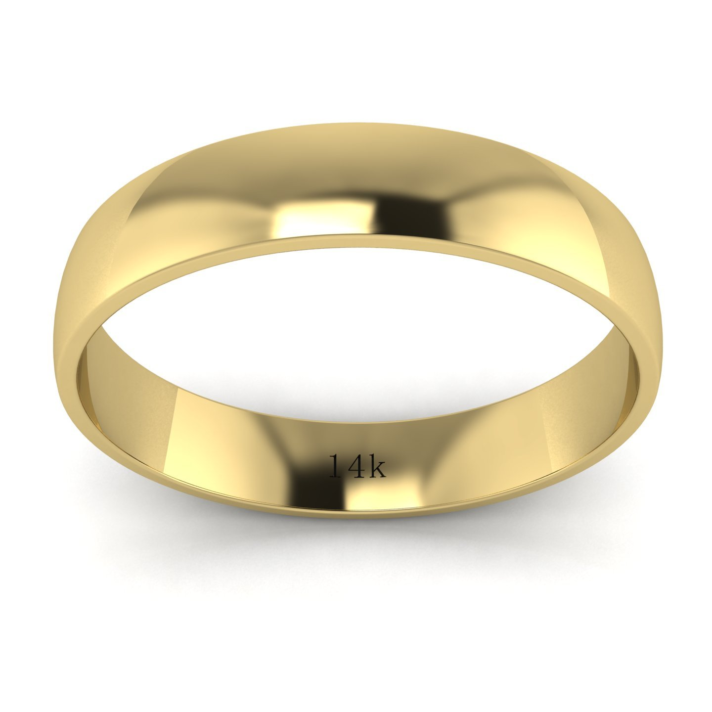 Unisex 14k Yellow Gold 4mm Light Court Shape Comfort Fit Polished Wedding Ring Plain Band (6.5) by LANDA JEWEL (Image #2)