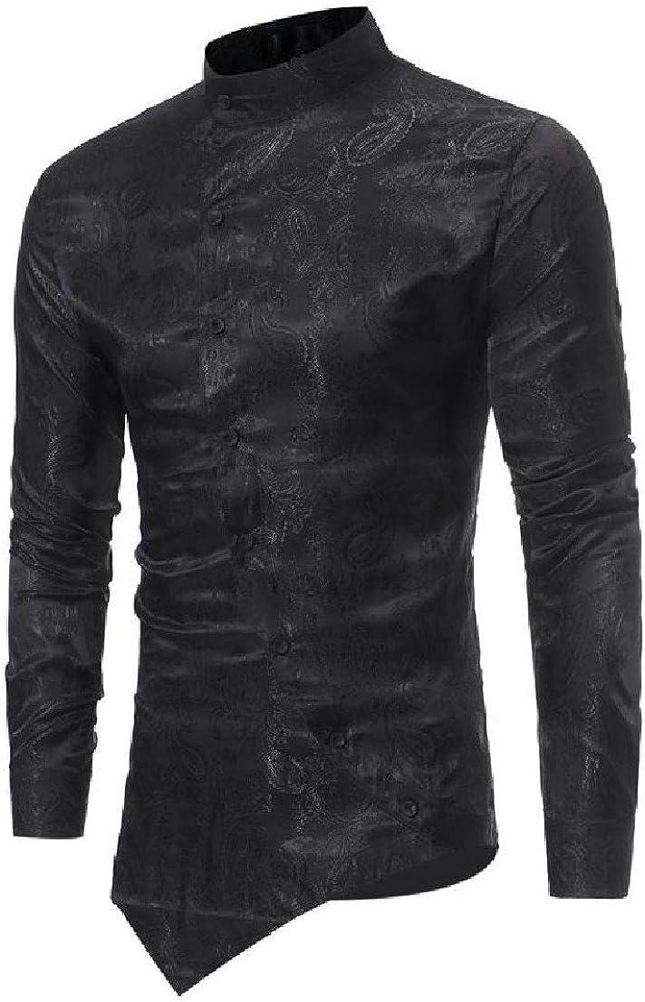 BabyYoungMen BabyYoung Mens Stand Collar Print Button Up Long-Sleeve Asymmetrical Hem Easy Collar Shirt
