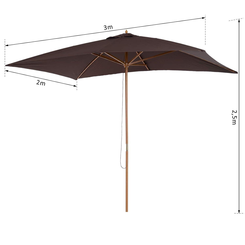 Outsunny Parasol Droit rectangulaire Bois Polyester Haute ...