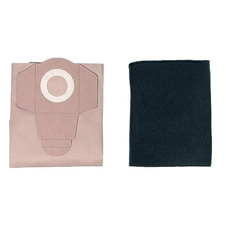 Einhell - Pack de 5 Bolsas Para Aspiradoras (20 Litros), Color Beige + - Pack de 10 Filtros de Esponja