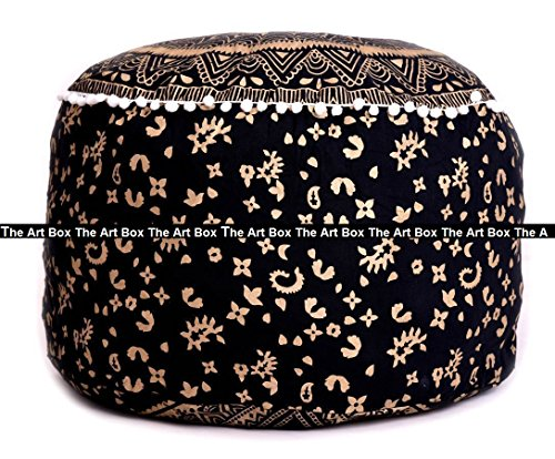 The Art Box Ombre Mandala Indian Ottoman Pouffe, Living Room Pouf, Mandala Foot Stool, Chairs & Ottoman (Black) 14 x 24 Inch Approx. ()