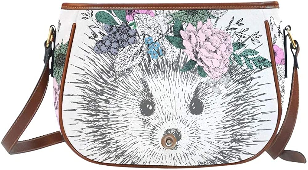 Vintage Hedgehog With A Wreath On Her Head Of Flow Woman Designer Bag Flap With Magnetic Snap Printed Shoulder Travel Bag Ladies Fashion Bags