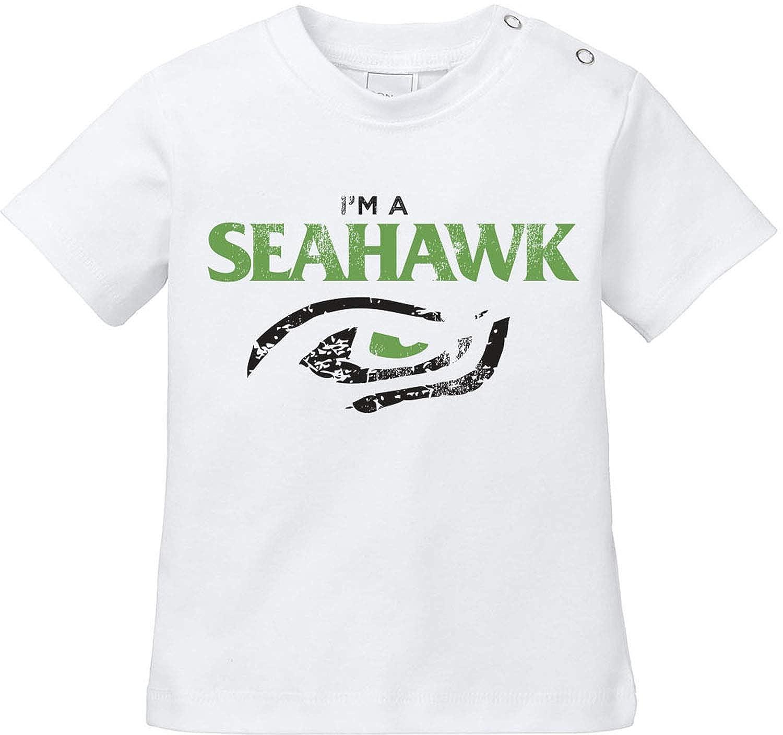 2 EZYshirt/® I/´am a Seahawk vol American Football Baby T-Shirt Bio Baumwolle