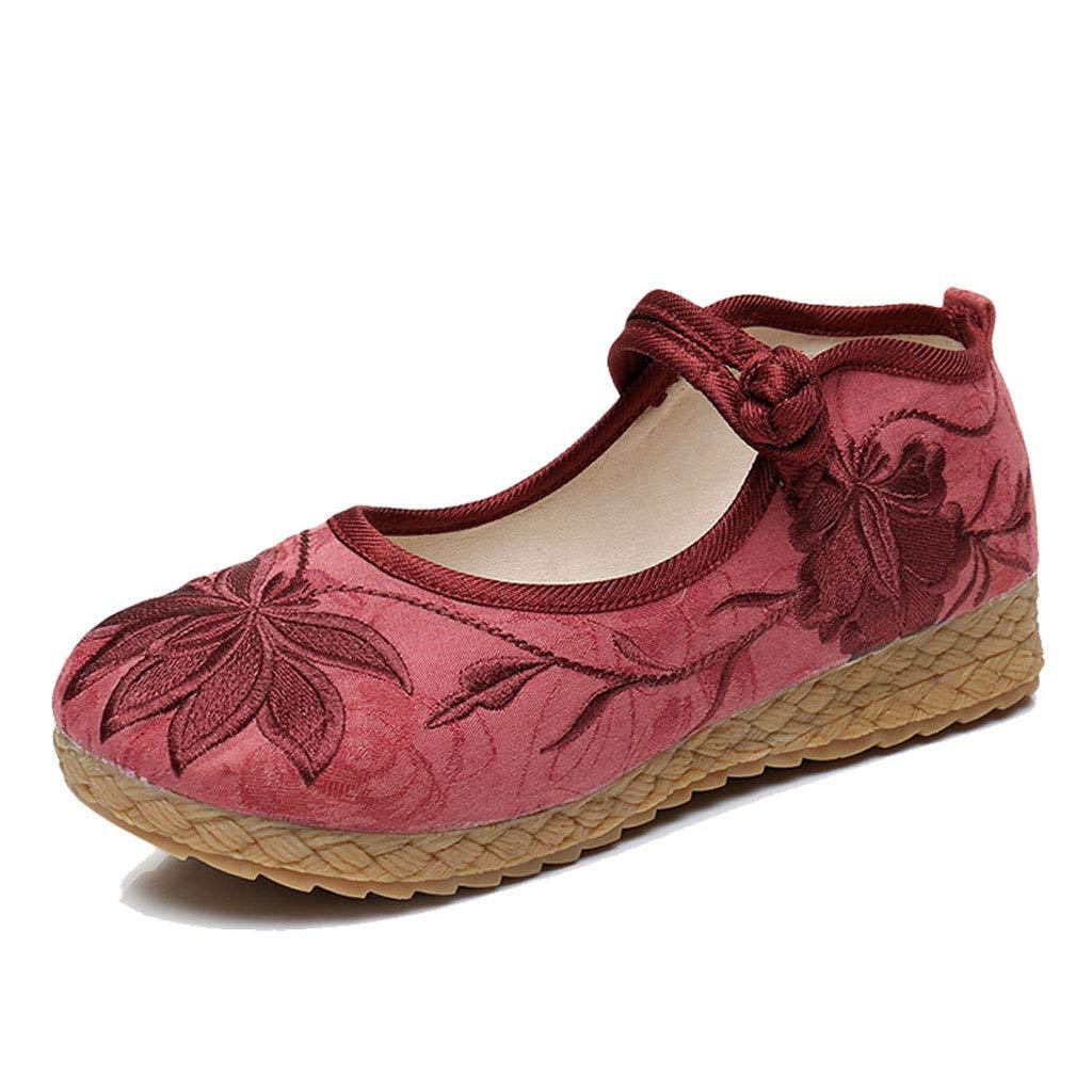 XHX Chaussures Femmes Brodées Plates pour Femmes Chaussures en Tissu en Chinois Chinois Vintage Chaussures Élégantes pour Ballerines (Couleur : Vin Rouge, Taille : 35) Vin Rouge 6cf7dd2 - reprogrammed.space