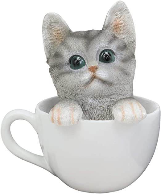 Amazon Com Ebros Lifelike Grey Tabby Cat In White Teacup Pet Pal Statue 6 Tall Kitten Kitty Gray Cats With Glass Eyes Decor Figurine Home Kitchen